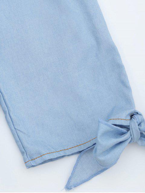 ladies Off The Shoulder Button Embellished Dress - LIGHT BLUE L Mobile