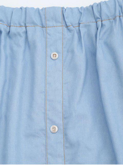 best Off The Shoulder Button Embellished Dress - LIGHT BLUE XL Mobile