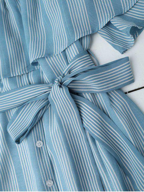 shop Multi Stripe Off The Shoulder Dress - BLUE L Mobile