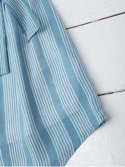 shops Multi Stripe Off The Shoulder Dress - BLUE XL Mobile