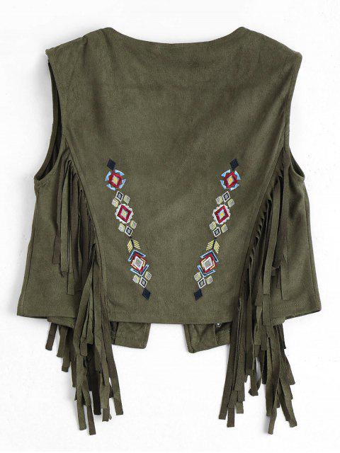 lady Embroidered Faux Suede Fringed Waistcoat - ARMY GREEN L Mobile