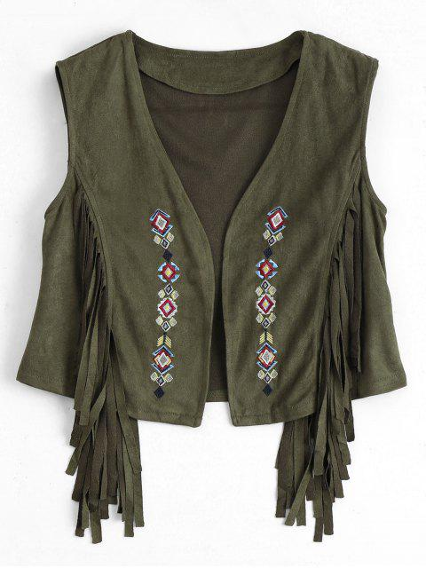 online Embroidered Faux Suede Fringed Waistcoat - ARMY GREEN M Mobile