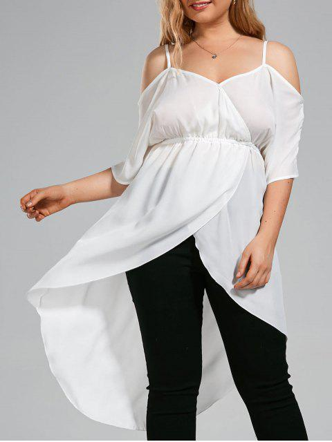 outfit Plus Size Open Shoulder Long High Low Chiffon Top -   Mobile