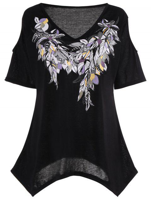 affordable Cold Shoulder Feather Print Plus Size Top - BLACK 5XL Mobile