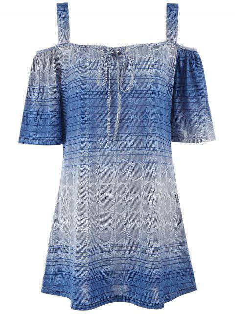 womens Printed Cold Shoulder Plus Size Tunic Top - LIGHT BLUE XL Mobile