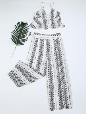 Printed Cami Top And High Slit Pants - White Xl