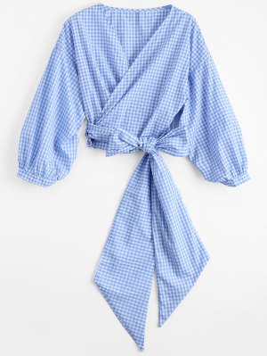 Checked Bowknot Wrap Top - Checked M