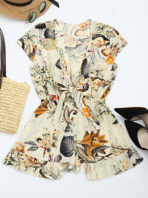 Floral Leaves Print Plunging Neck Romper - Multi Xl