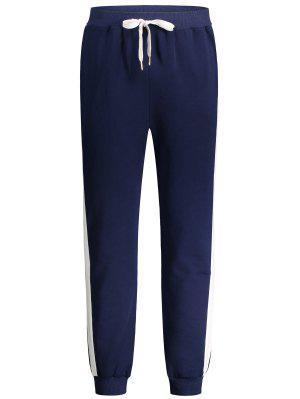Pantalones De Tirantes De Dos Tonos Con Cintura De Cordón - Azul Purpúreo M