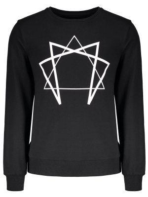 Crew Neck Geometric Printed Sweatshirt - Black Xl