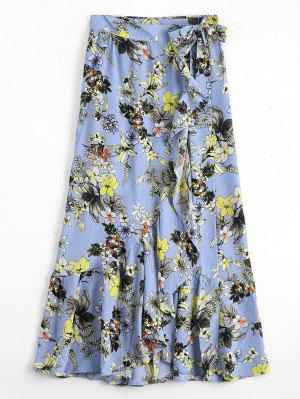 Floral Ruffles Asymmetrical Wrap Skirt - Floral S