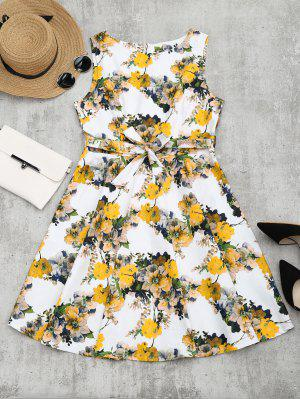 Floral Print Self Tie Flare Dress - Floral M