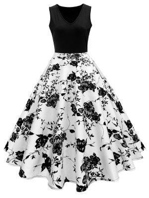 Vintage Print A Line High Waisted Dress - Branco e preto S