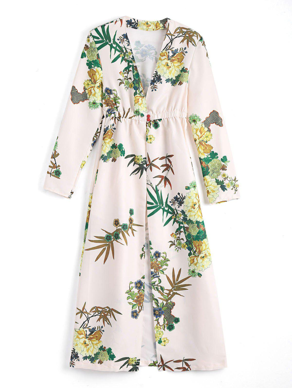 Floral Long Sleeves Open Front Coverup Dress