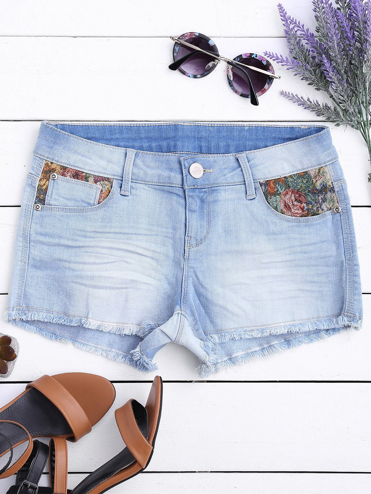 Graphic Cutoffs Distressed Denim Shorts 217376704