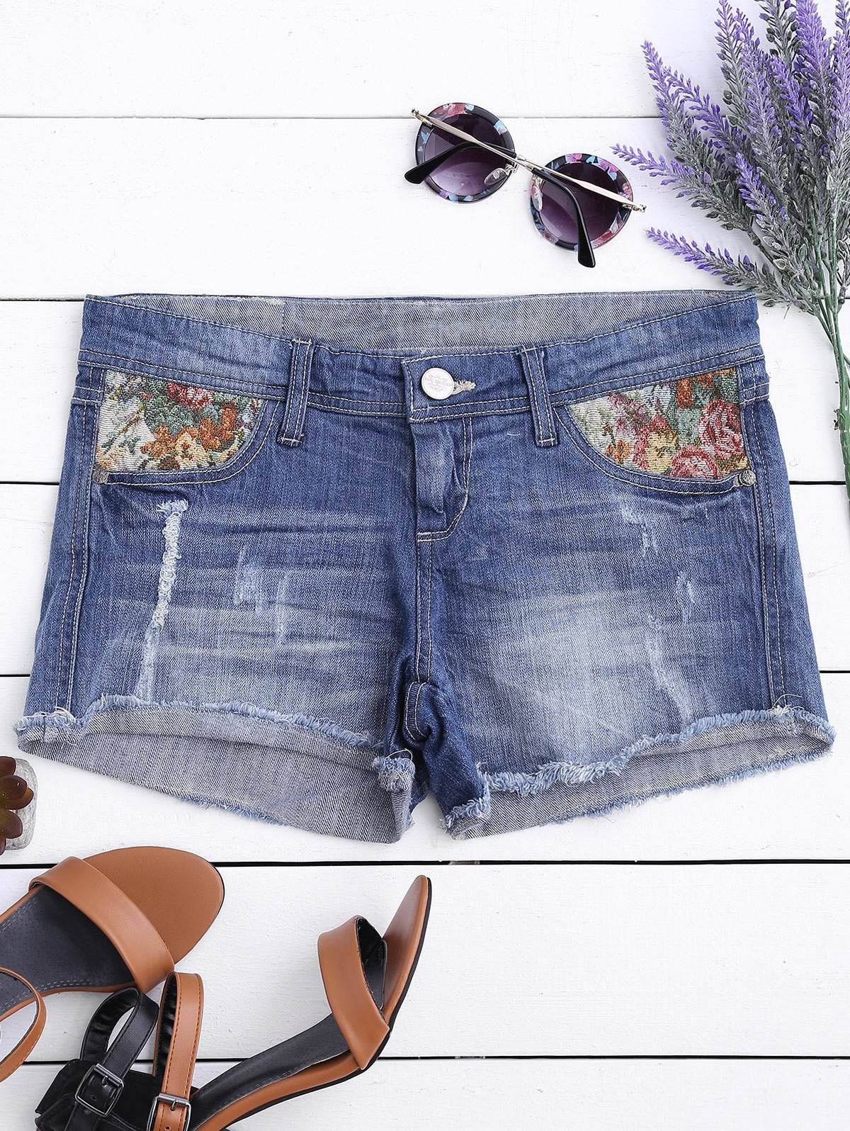 Graphic Cutoffs Distressed Denim Shorts 217376706