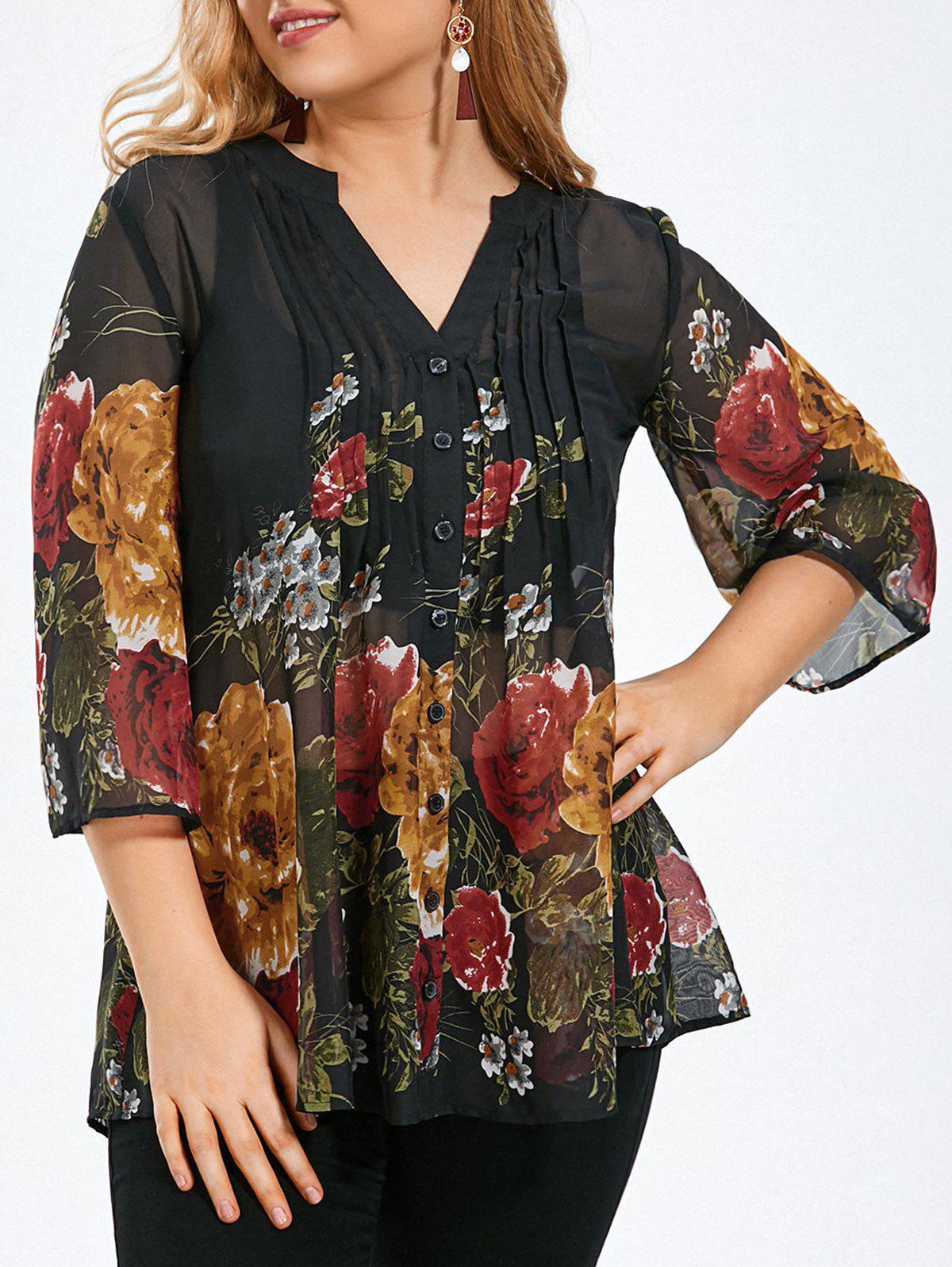 bergre Sheer Bluse mit Falte und Blumenmuster