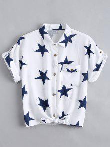 Button Up Star Pattern Pocket Shirt - White S