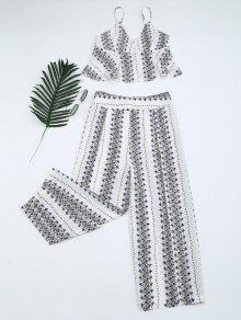 Printed Cami Top And High Slit Pants - White S