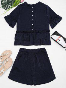 Flare Sleeve Ruffled Top And Shorts Set - Purplish Blue M