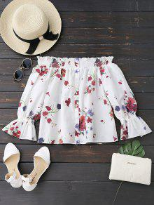 Long Sleeves Floral Off The Shoulder Top - White L