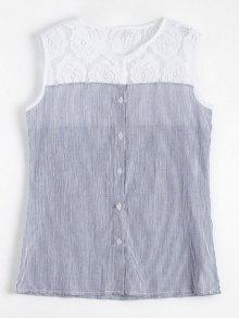 Camisa A Rayas Sin Mangas De Panel De Encaje - Raya M
