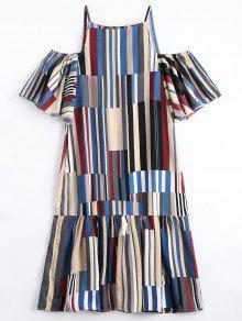 Ruffle Hem Striped Cami Dress - Blue