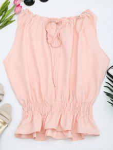 Sleeveless Ruffle Hem Blouse - Pink M