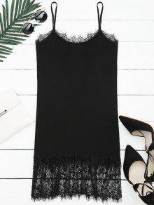 Vestido De Tejido Con Tirante Fino Con Panel De Encaje - Negro