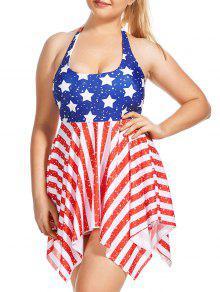 زائد الحجم وطني العلم الأمريكي متعرج تانكيني مجموعة - 5xl
