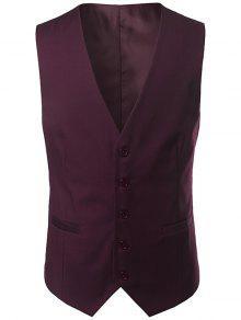 الخامس الرقبة واحدة الصدر تصميم حزام صدرية - نبيذ أحمر 4xl