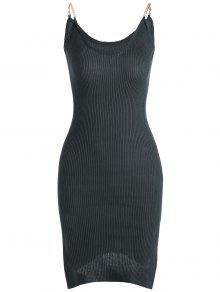 Buy Side Slit Ribbed Cami Knitted Dress - DEEP GRAY ONE SIZE