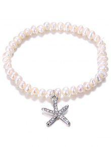Starfish Pendant Faux Pearl Rhinestone Inlaid Bracelet - Silver