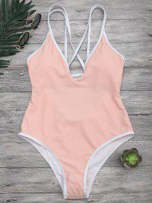 Contrast Piping Strappy High Cut Swimsuit - Orangepink M