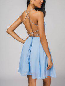Open Back Criss Cross Cami Dress - Azul Claro Xl