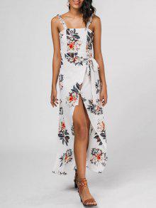 Ruffled Strap Floral Print Slit Dress - Floral Xl