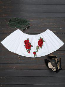 Floral Patched Off The Shoulder Crop Blouse - White M