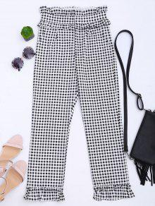 Ruffle Hem Checked Capri Pants - Checked M