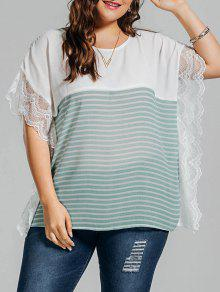 Plus Size Stripe Lace Panel Dolman Sleeve Chiffon Top - Light Green 5xl