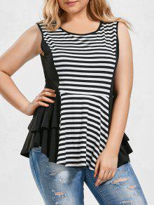 Striped Plus Size Tiered Peplum Top - Blanco Y Negro 3xl