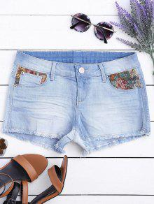 Graphic Cutoffs Distressed Denim Shorts - Light Blue 38