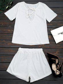 Cut Out Top And Shorts Two Piece Suit - White L