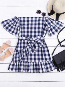 Mini Vestido Fuera Del Hombro De Cuadro Con Cinturón - Comprobado L