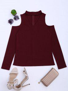Cold Shoulder Cut Out Ribbed Knitted Tee - Deep Red S