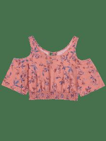 Rosado Floral L 237;o Hombro Fr Smocked Top De De UP0wzq