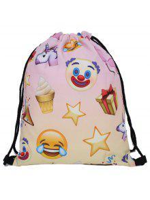 Unicorn Print Drawstring Backpack - Yellow