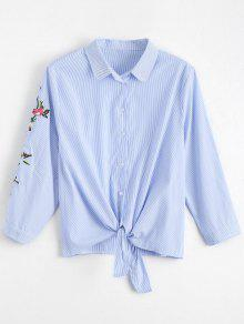 Floral Embroidered Bowknot Stripes Shirt - Stripe S