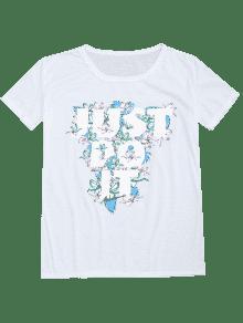 Camiseta floral de la impresión de la letra del c