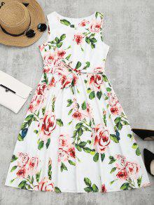 Round Collar Floral Print Belted Dress - Floral M