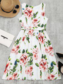 243;n Con Vestido Flores Con Con Cintur Floral Cuello Estampado Xl De Redondo Bxqz4xHOw